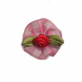 Roosje satijn rood op roze geruit blad 25 mm (10 stuks)