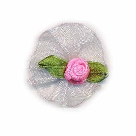 Roosje satijn roze op wit organza blad 30 mm (10 stuks)