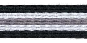 Elastiek gestreept zwart-gebroken wit-grijs 25 mm (ca. 25 m)