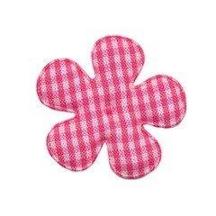 Applicatie geruite bloem fuchsia-wit middel 35 mm (ca. 100 stuks)
