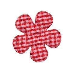 Applicatie geruite bloem rood-wit middel 35 mm (ca. 100 stuks)