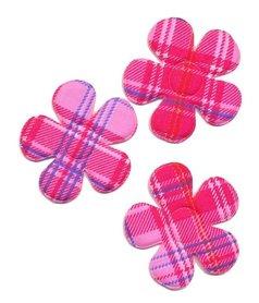 Applicatie bloem burberry ruit roze groot 45 mm (ca. 100 stuks)