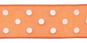 Oranje met witte stippen organza lint 25 mm (ca. 45 m)