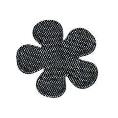 Applicatie bloem denim grijs middel 35 mm (ca. 100 stuks)