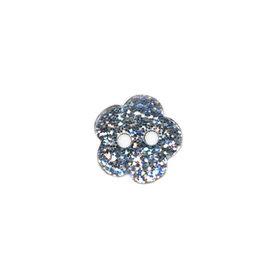 Bloemvormige knoop zilver glitter 11 mm (ca. 25 stuks)