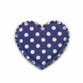 Applicatie hart donker blauw met witte stippen katoen middel 35 x 30 mm (ca. 100 stuks)