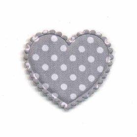 Applicatie hart grijs met witte stippen katoen middel 35 x 30 mm (ca. 100 stuks)