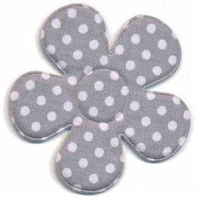 Applicatie bloem grijs met witte stippen katoen groot 45 mm (ca. 100 stuks)