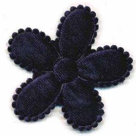 Applicatie bloem donker blauw fluweel groot  45 mm (ca. 100 stuks)