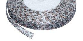 Panterprint organza lint zwart/terra 13 mm (ca. 45 m)