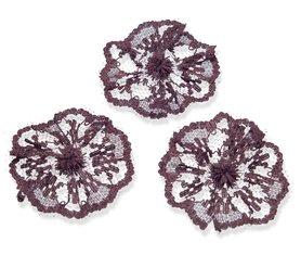 Kanten rozet donker bruin ca. 40 mm (ca. 25 stuks)