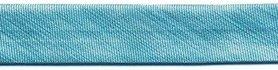 Licht blauw metallic gevouwen biaisband 13 mm (ca. 10 meter)
