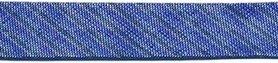 Kobalt blauw gestreept metallic gevouwen biaisband 13 mm (ca. 10 meter)