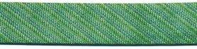 Groen gestreept metallic gevouwen biaisband 13 mm (ca. 10 meter)