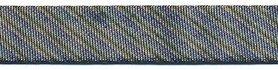 Zwart gestreept metallic gevouwen biaisband 13 mm (ca. 10 meter)