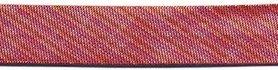 Rood gestreept metallic gevouwen biaisband 13 mm (ca. 10 meter)