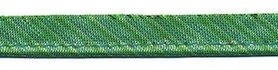 Groen gestreept metallic piping-/paspelband 10 mm (ca. 10 meter)