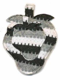 Applicatie retro fruit zwart-grijs-wit 45 x 55 mm (10 stuks)