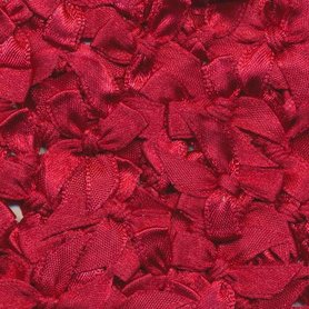 Satijnen strikjes bordeaux (ca. 100 stuks)