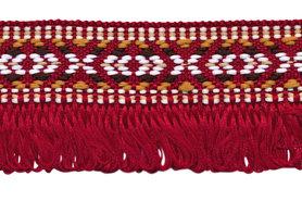 Bordeaux franjeband aztec-stijl 35 mm (ca. 5 m)