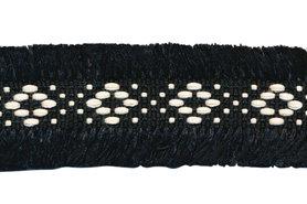 Zwart 2-zijdig franjeband aztec-stijl 30 mm (ca. 5 m)