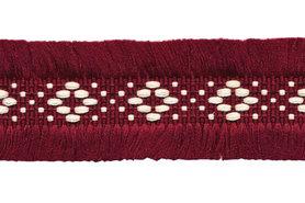 Bordeaux 2-zijdig franjeband aztec-stijl 30 mm (ca. 5 m)