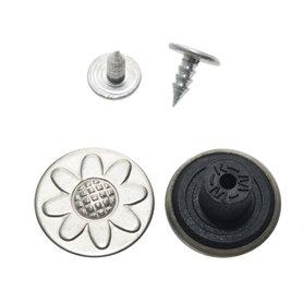 Jeans knoop mat zilverkleurig met bloem 17 mm (ca. 100 stuks)