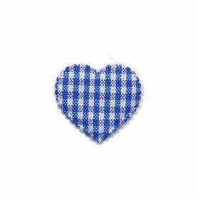 Applicatie ruitjes hart kobalt blauw klein 25 x 20 mm (ca. 100 stuks)