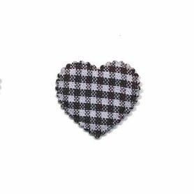 Applicatie ruitjes hart zwart klein 25 x 20 mm (ca. 100 stuks)