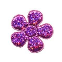 Applicatie glitter bloem fuchsia middel 35 mm (ca. 100 stuks)