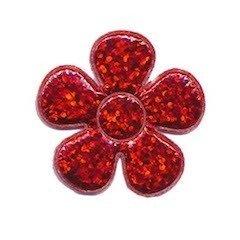Applicatie glitter bloem rood middel 35 mm (ca. 100 stuks)