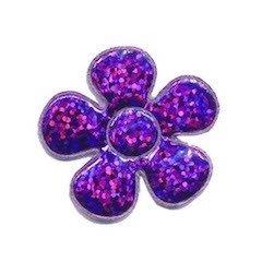 Applicatie glitter bloem paars middel 35 mm (ca. 100 stuks)