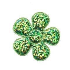 Applicatie glitter bloem groen middel 35 mm (ca. 100 stuks)