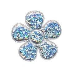 Applicatie glitter bloem zilver middel 35 mm (ca. 100 stuks)