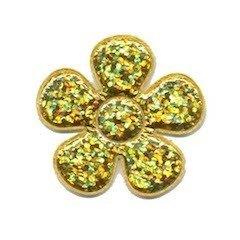 Applicatie glitter bloem goud middel 35 mm (ca. 100 stuks)