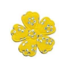Applicatie bloem satijn geel met zilveren bloemetje middel 35 mm (ca. 100 stuks)