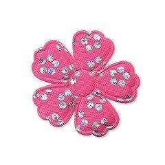 Applicatie bloem satijn roze met zilveren bloemetje middel 35 mm (ca. 100 stuks)