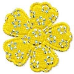 Applicatie bloem satijn geel met zilveren bloemetje groot 45 mm (ca. 100 stuks)