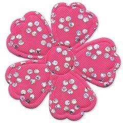 Applicatie bloem satijn roze met zilveren bloemetje groot 45 mm (ca. 100 stuks)