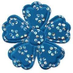 Applicatie bloem satijn blauw met zilveren bloemetje groot 45 mm (ca. 100 stuks)