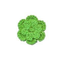 Gehaakt roosje groen 25 mm (10 stuks)