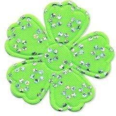 Applicatie bloem satijn groen met zilveren bloemetje groot 45 mm (ca. 100 stuks)