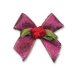 Fuchsia strik met rood roosje op blad (25 stuks)