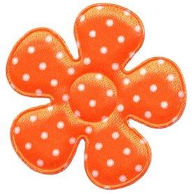 Applicatie bloem NEON oranje met witte stippen satijn groot 45 mm (ca. 100 stuks)