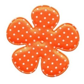 Applicatie bloem NEON oranje met witte stippen satijn EXTRA GROOT 65 mm (ca. 100 stuks)