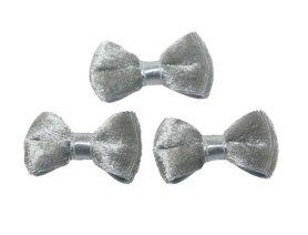 Strik fluweel zilvergrijs (10 stuks)