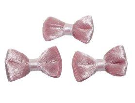 Strik fluweel oud roze (10 stuks)