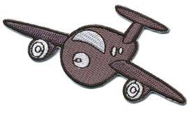 Opstrijkbare applicatie vliegtuig grijs (5 stuks)