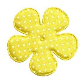 Applicatie bloem geel met witte stippen satijn EXTRA GROOT 65 mm (ca. 100 stuks)