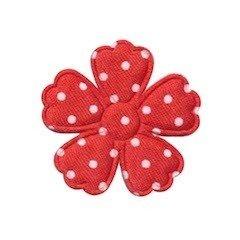 Applicatie bloem klaverblaadje rood met witte stippen satijn middel 35 mm (ca. 100 stuks)